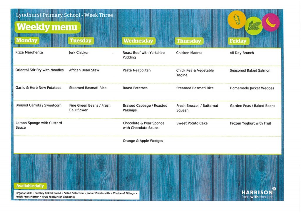 Harrison Menu Week 3
