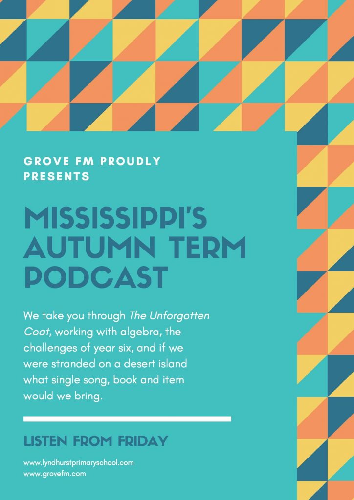 This week it's the turn of one of our year six classes to take you through what they've been up to. This week Mississippi talked about the WWI artist Paul Nash, some of the struggles of being in year six, tag rugby, algebra and if they were stranded on a desert island what song, book and one other item would they take.